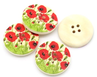 Beautiful Poppy Fields Design Wooden Buttons 30mm.  Sewing Knitting Scrapbook and other craft projects