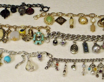 6 Vintage Style Charm Bracelets with Vintage Charms