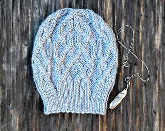INSTANT DOWNLOAD PDF Knitting Pattern for Women's Aran Hat with Cables Slouchy Beanie Unisex