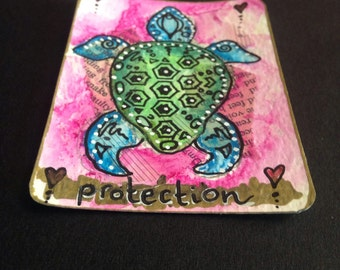Original ACEO Art Card Protective Turtle Painting - Made to Order