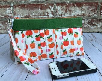 Ruffled Wristlet / Apple Clutch / Wristlet / Handbag