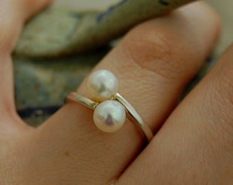 Amisa - double pearl ring, gemstone engagement ring, alternate engagement, promise ring, gift idea, pearl jewelry, silver pearl ring