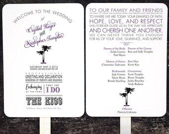 Wedding Program Fans, Beach Destination Custom Wedding Program Fan, Wedding Fan, Order of Service Fan, Wedding Hand Fan