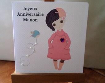 Birthday card girl girl personalized customize 15cm x 15cm