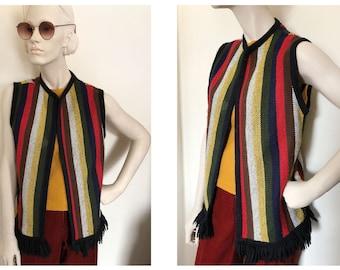 60s Rainbow striped Hippie Vest // 1970s woodstock vest // rainbow vertical striped knit vest with frayed hem //