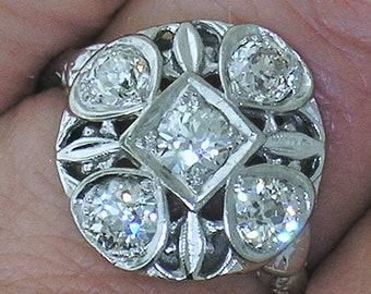 Diamond Filigree Ring~1920's Diamond Filigree Ring in Platinum