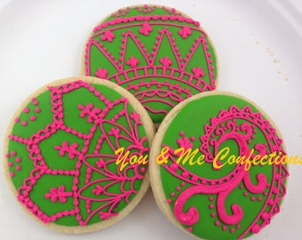 Henna Pattern Hand Decorated Sugar Cookies - 1 dozen