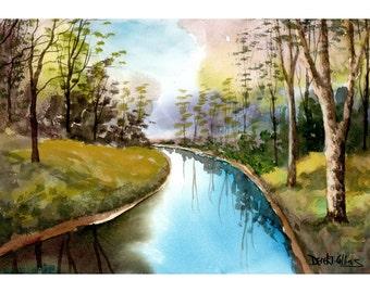 Paysage peinture aquarelle originale de rivière peinture arbre rivière Creek flux art aquarelles 7 x 10