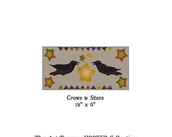 """Crows & Stars ~ 12"""" x 6"""" Paper Pattern for PUNCH NEEDLE by The Art Tramp/HOOKER Collection"""