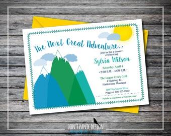 Printable Baby Shower Invitation - Adventure, Mountain Baby Shower Invitation -  Blue, Green Baby Boy, Baby Girl, Gender Neutral Invitation