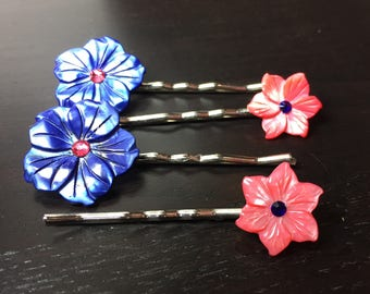 Blushing Midnight Navy Blue and Bright Pink Mother of Pearl Flower Bobby Pins ... Set of 4 for Bridesmaids