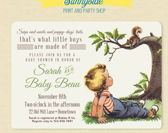 Boys Made of Baby Shower Invite - Snips Snails Puppy Dog Tails - Vintage Style Baby Shower Invitation