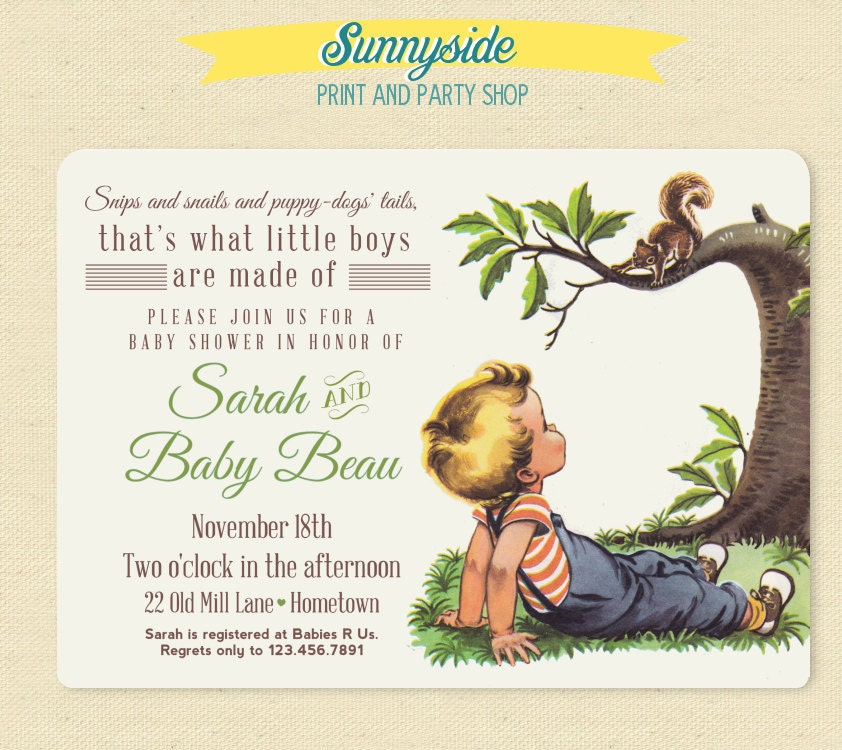 Boys Made of Baby Shower Invite Snips Snails Puppy Dog Tails