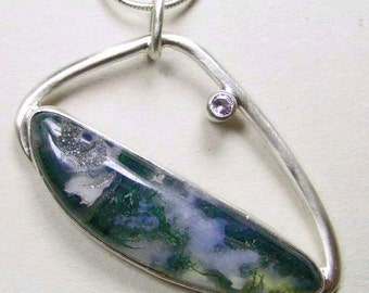 Green Moss Agate with Druzy Sterling Silver Pendant Necklace, Gift for Her, Ready To Ship, One Of A Kind, Asymmetric, Unusual Shape