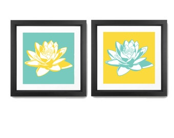 Lotus Print - Flower Wall Decor - Flower Wall Art - Modern Flowers Print - Flower Art - Nature Print - Lotus Wall art - Set Of 2 Prints