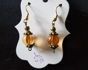 Orange lantern earrings