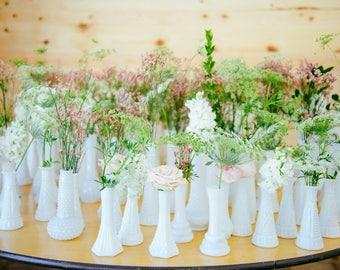 "Elegant Large Vintage Milk Glass Vase - Choose Your Set - Wedding Decor 9"" Vase - Baby or Wedding Shower Vase - Ready to Ship"