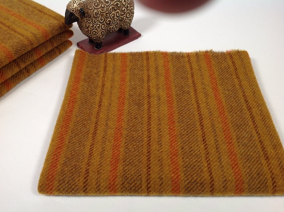 Gold Canyon Stripe, Mill Dyed Wool Fabric for Rug Hooking and Applique, Select-a-size, W453, Deep Gold, Brown Gold and Orange Stripe