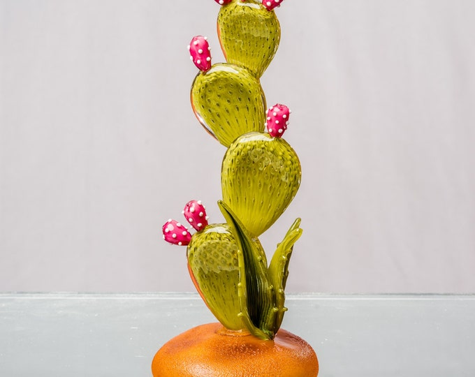 Hand Sculpted Glass Prickly Pear Cactus