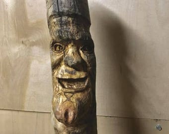 Driftwood wood spirit carving