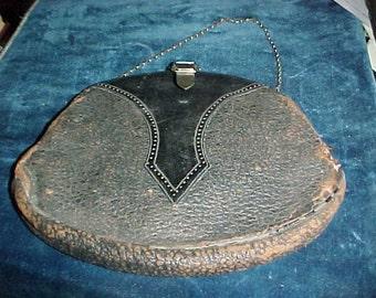 Antique Leather Art nouveau purse silvertone buckle & chain note inside original owner