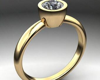 elle ring – .5 carat round brilliant NEO moissanite engagement ring, bezel set engagement