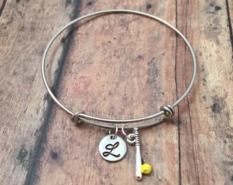 Softball initial bangle - softball jewelry, gift for softball player, softball bracelet, softball coach gift, softball player jewelry