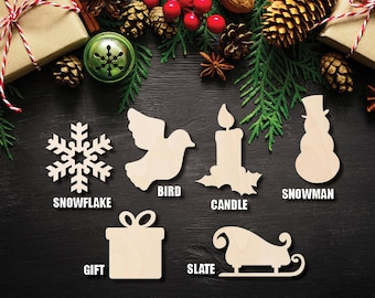 "Christmas Set Cutout Raw Wood Shapes Sign 1/5"" thick"
