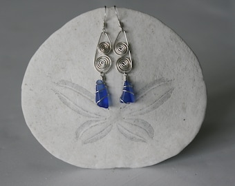 Cobalt Recycled Glass Earrings with Signature Silver Spirals