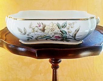 Antique Serving bowl H & Co – serving dish - Rare Antique Haviland Limoges square hand painted pastel floral  –  porcelain Limoges casserole