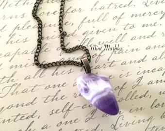 Natural Amethyst Gemstone Necklace. Minimalist. Boho. Purple. Vintage Style Brass Chain. Power. Protection. Healing. February Birthstone.
