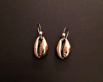 Golden Brass Cowrie Shell Earrings