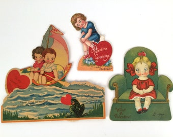 Vintage 20s, Valentine Card Lot, Mechanical Valentine Cards, Set of 3, Valentines Day Cards, Antique Valentines, Vintage Valentine Cards