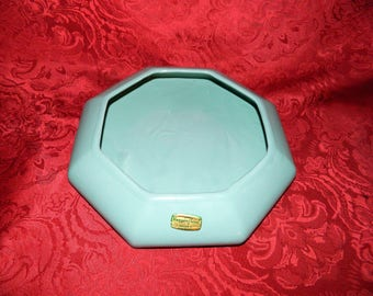 Vintage Haeger Floral Octagon Planter Original Sticker Green Made in Macomb IL USA
