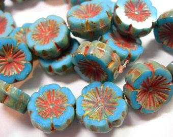 10 beads - Maya Blue Picasso Czech Glass Flower Beads 14mm