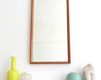 Vintage Danish Teak Mirror Modernist Mid Century Large Mirror