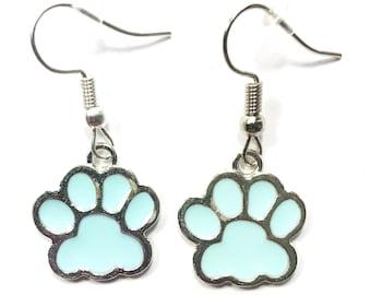 Silver Tone Blue Paw Print Cat Dog Animal Lover Dangle Drop Hook Earrings