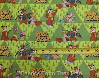 Yogi Bear Boo-Boo Bear Campfire Fishing on Green BY YARDS Camelot Cotton Fabric