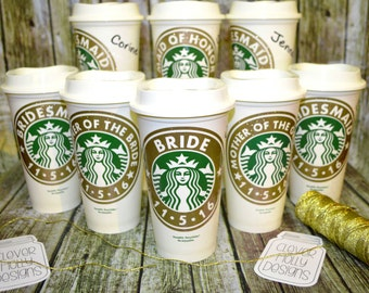 Bridesmaid Gifts Personalized Starbucks Coffee Cup with Name (Genuine Starbucks Cups as wedding party gifts) [gifts for bridesmaids]