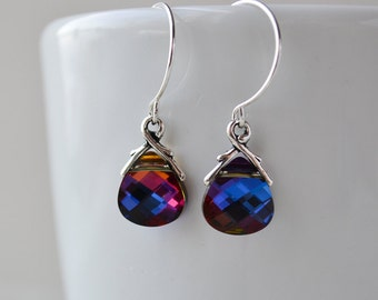 Heliotrope Swarovski briolette with silver earrings, shades of deep blue, purple, and red