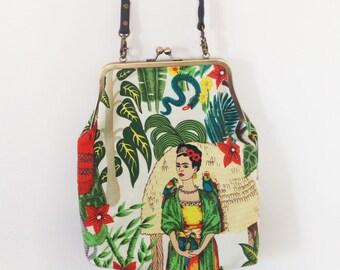 Frida Kahlo Purse - Frida Kahlo Kiss Lock Bag - Woman Bag Frida Kahlo Fashion - Frida Kahlo Handbag - Mexican Folk Art - Frida Bag