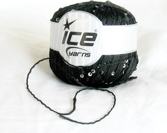 Sequin, Ice yarn, black, silvery sequins, twisted yarn, destash yarn
