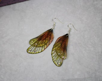 Beautiful Summer Orange and Yellow Rounded Fairy Wing/Butterfly/Cicada Earrings