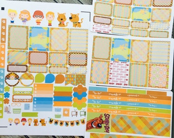 Mystery Dog Weekly Planner Stickers Set, for use with Erin Condren Life Planner, Happy Planner