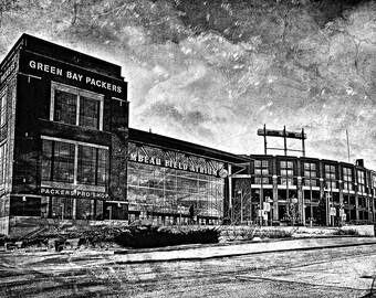 Frozen Tundra, Black & White, Lambeau Field, Green Bay Packers, Large Wall Art Print, Home Decor, Man Cave, Packers Print, Packers Decor