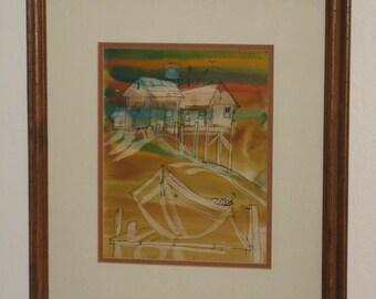 Original ink and watercolor painting framed signed seashore boat fish shack
