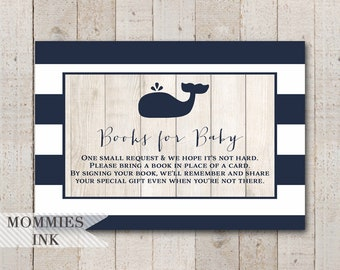 Whale Books for Baby Insert, Whale Bring a Book Insert, Whale Book Request, Shower Printable, Stock Baby's Library, Navy Whale Baby Shower