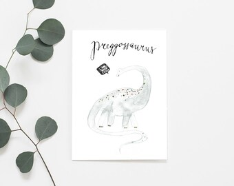 Watercolor preggossaurus, dinosaur, Watercolor Print, Art print, Pregnant Card, Watercolor, Art print, illustration,  Dino, Pregnancy Card