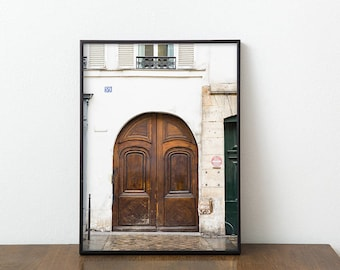 Paris Door Photography Print - Large Wall Art - Parisian Art Print - Brown Door Photo - Neutral Home Decor - Gallery Wall Print