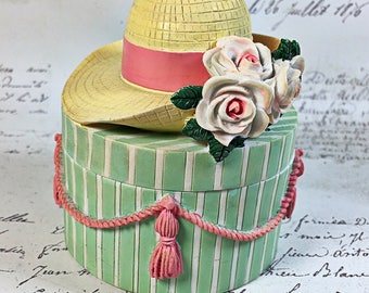 Vintage Hat Box box trinket box yellow Victorian roses storage  green pink round